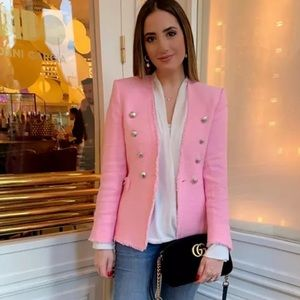 BLOGGERS FAV ZARA PINK TWEED JACKET WITH BUTTONS